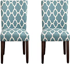HomePop Parsons Classic Upholstered Accent Dining Chair, Set of 2, Teal and Cream Geometric
