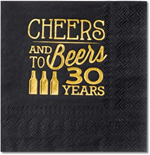 Crisky 30th Birthday Cocktail Napkins Black and Gold, Beverages Napkins for 30th Birthday Anniversary Decorations Cheers and Beers to 30 Years, 50 PCS, 3-Ply