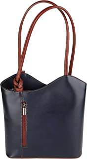 Chicca Borse Shoulder Bag Borsa da Donna a Spalla in Vera Pelle Made in Italy 28x30x9 Cm