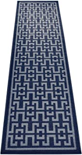 Ancient Greek Style Design Printed Slip Resistant Rubber Back Latex Runner Rug and Area Rugs (Royal Navy Blue, 1'11