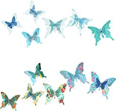 Roser Life Craft Butterflies⎮Decorative Artificial Butterfly Clips⎮Silk Fabric Butterfly Decorations⎮Floral Butterflies⎮Handmade Vintage Ornament⎮Home Party Garden Outdoor Decor Blue Teal (Pack of 12)