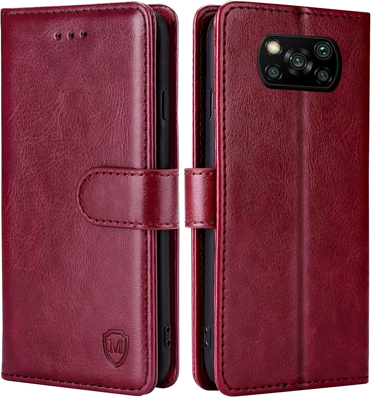 FMPCUON Funda para Xiaomi Poco X3 NFC,Funda Libro Xiaomi Poco X3 Pro Funda con Tapa,Cuero Carcasa Magnético Funda Cartera Móvil para Xiaomi Poco X3 NFC/Poco X3 Pro, Rojo