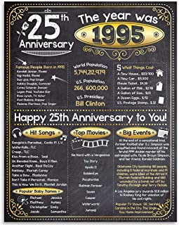 Happy 25th Anniversary (Twenty five, 25) - Year 1995-11x14 Unframed Art Print - Perfect Gift and Party Decoration Under $15