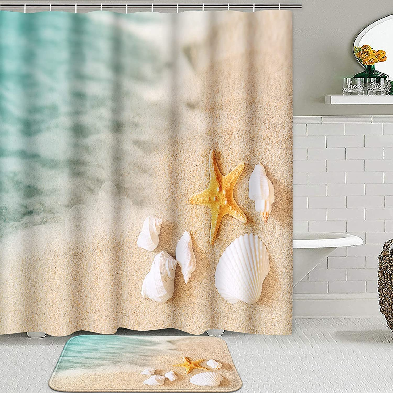ArtSocket 2 Low price Pcs Shower Curtain Beac Set Summer Starfish Al sold out. Seashore
