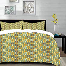 """bedding - Duvet Cover Set,Beach,Weathered Looking Pattern with Flip Flops Summer Beach Seaside Fun Vacation,Hypoallergenic Microfibre Duvet Cover Set Queen/Full 90""""x90"""" with 2 Pillowcase 20"""" x 26"""""""