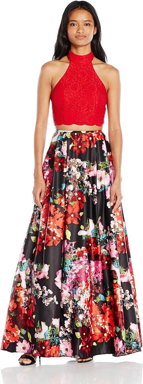 Blondie Nites Womens Long Two Piece Lace Print Ballgown Dress