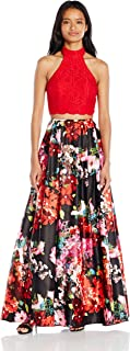 Blondie Nites Junior's Long Two Piece Lace Print Ballgown