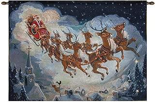 CC Home Furnishings Night Blue and White Christmas Santa Themed Fiber Optic Wall Hanging 26