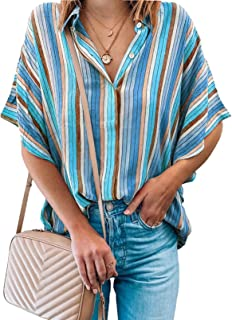 Diukia Women's Summer Fashion Color Block Striped Short Sleeve Blouse Shirts Casual V Neck Button Down Blouses Tops