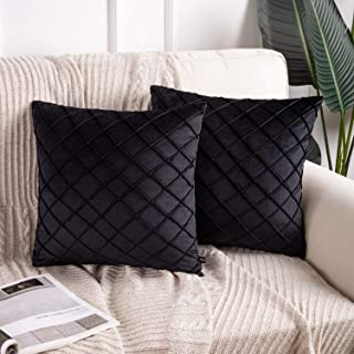 Phantoscope Pack of 2 Velvet Decorative Pleated Throw Pillow Covers Soft Solid Square Cushion Case for Couch Black, 18 x 1...