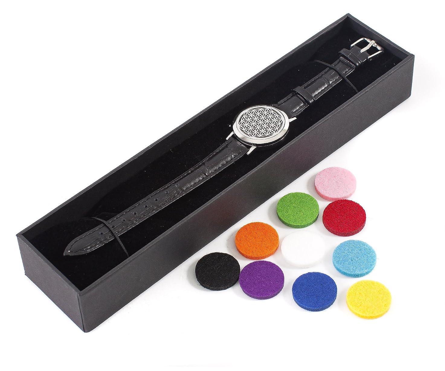 思慮のない人形サラダMystic Moments   Flower of Life   Aromatherapy Oil Diffuser Bracelet with Adjustable Black Leather Strap