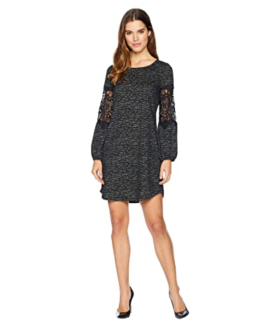Tribal Peasant Sleeve with Applique Shift Dress (Black) Women