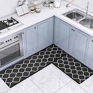 """Kitchen Floor Mat Set, 2 Pieces 18"""" x 59"""" + 18"""" x 30"""" Printing Anti Fatigue Non Skid Cushioned Kitchen Rug Standing Mat Co..."""