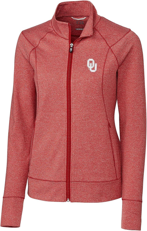 Cutter & Buck NCAA Oklahoma Sooners Womens Long Sleeve Shoreline Full Zip Overknit Cardinal Red Heather Small