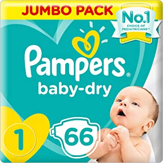Pampers New Baby-Dry Diapers, Size 1, 'Newborn, 2-5kg, Jumbo Pack, 66 Count