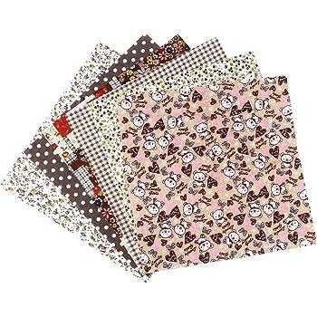 Exceart 7pcs Cotton Fabric Bundles Precut Squares Patchwork Quilting Fabric Quarter Fabric Bundle Patterns for DIY Sewing Scrapbooking Quilting Black