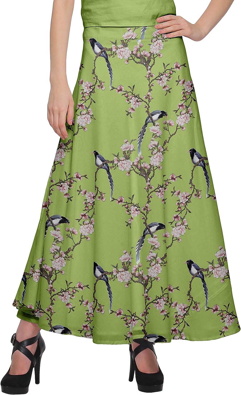 Moomaya Printed Maxi Skirt for Women Long Wrap Skirt Girls Casual Wear Clothing