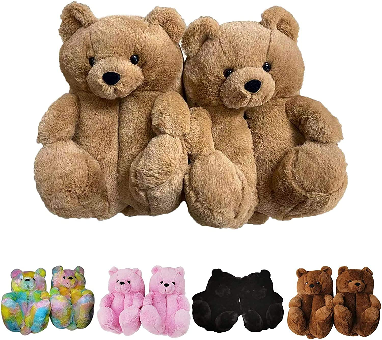 Women Max 77% OFF Plush Teddy Bear Indoor Home San Jose Mall Slippers