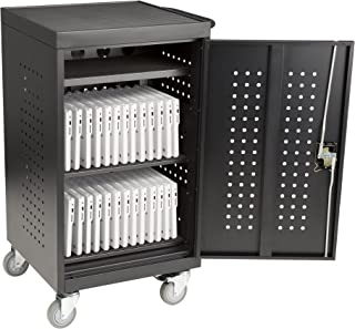 30-Bay Assembled Laptop/Tablet Charging Cart w/Double Pin Lock & Electric Compatible w/Chromebooks, iPad, Tablets & Laptop Computers (Assembled)