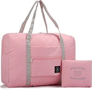 a08320223 WANDF Foldable Travel Duffel Bag Luggage Sports Gym Water Resistant Nylon  (Coral Pink 25L)