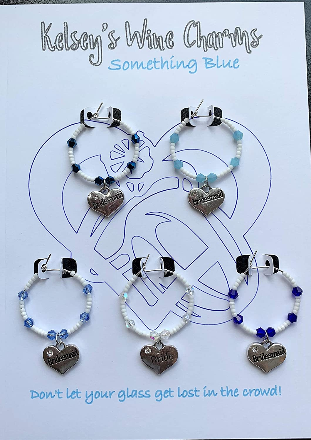 Something Blue Bride Wedding Super beauty product restock quality top! Party Wine Glass Charms High order set 5 of