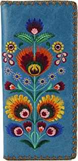 Bohemian Colorful Flower Arrangement Embroidered Beautiful Large Wallet