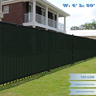 E&K Sunrise 4' x 50' Green Fence Privacy Screen, Commercial Outdoor Backyard Shade Windscreen Mesh Fabric 3 Years Warranty (Customized Sizes Available) - Set of 1