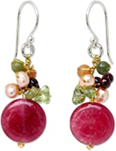 NOVICA Multi-gem Dyed Cultured Freshwater Pearl Sterling Silver Cluster Earrings, Thai Joy'