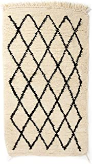 Poufs&Pillows Original Berber Beni Ourain Doormat Rug - Handwoven 100% Wool - 43x23 in - Cream and Black, Moroccan Rug, for Classic, Contemporary and Modern Interior, Oriental Carpet, Handmade