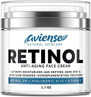 Anti-Aging Retinol Cream for Face with Hyaluronic Acid 3% - Wrinkle Cream for Face - Made in USA - Facial Moisturizer & Da...