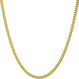 Lifetime Jewelry Gold Necklace for Women & Men [ 2.2mm Curb Link Chain ] 20X More 24k Real Plating Than Other Dainty Pendant Necklaces - Thin Yet Strong - Lifetime Replacement Guarantee 16-30 inches