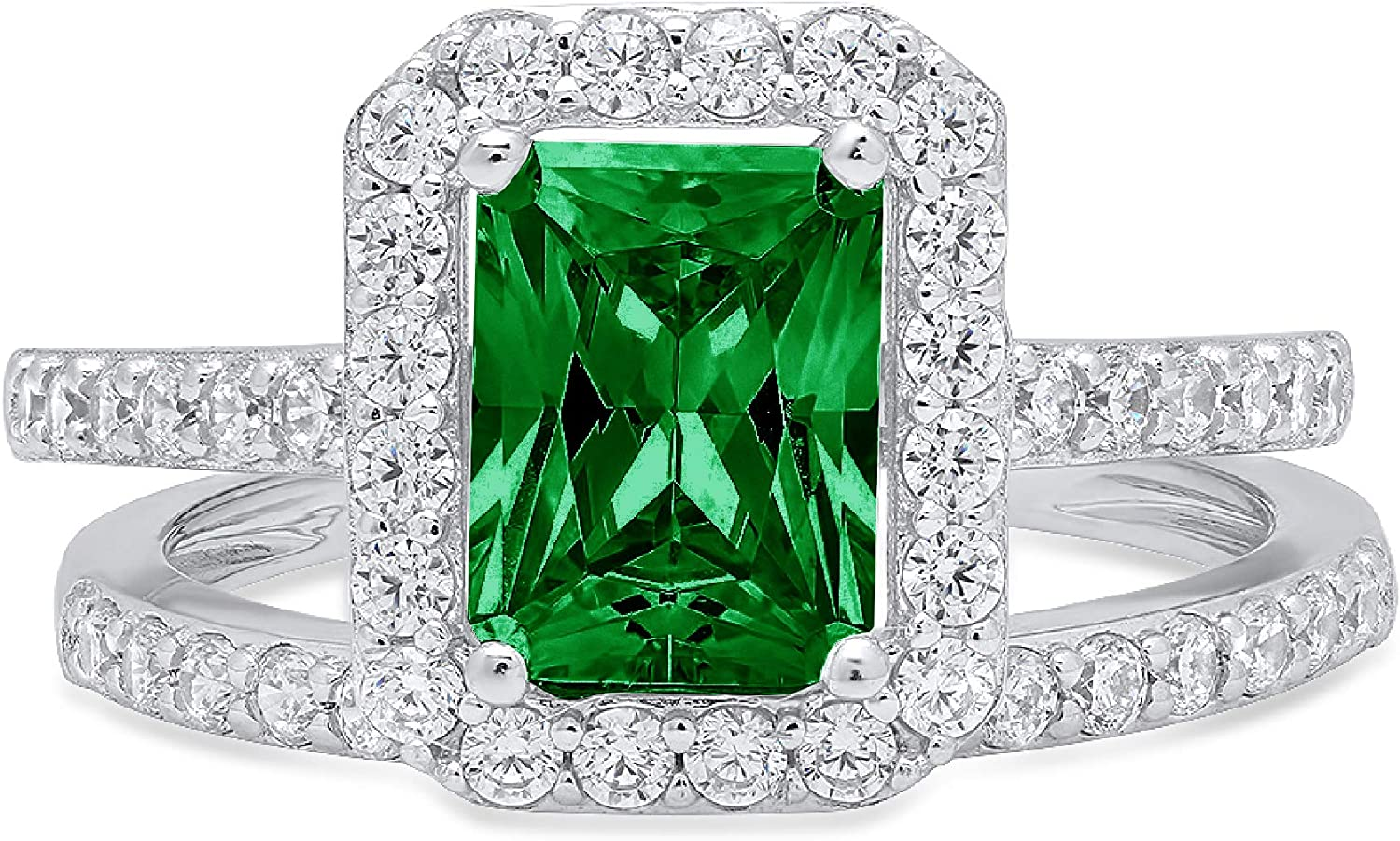 2.14ct Emerald Round Cut Pave Halo Solitaire with Accent VVS1 Ideal Flawless Simulated CZ Green Emerald Engagement Promise Designer Anniversary Wedding Bridal ring band set 14k White Gold