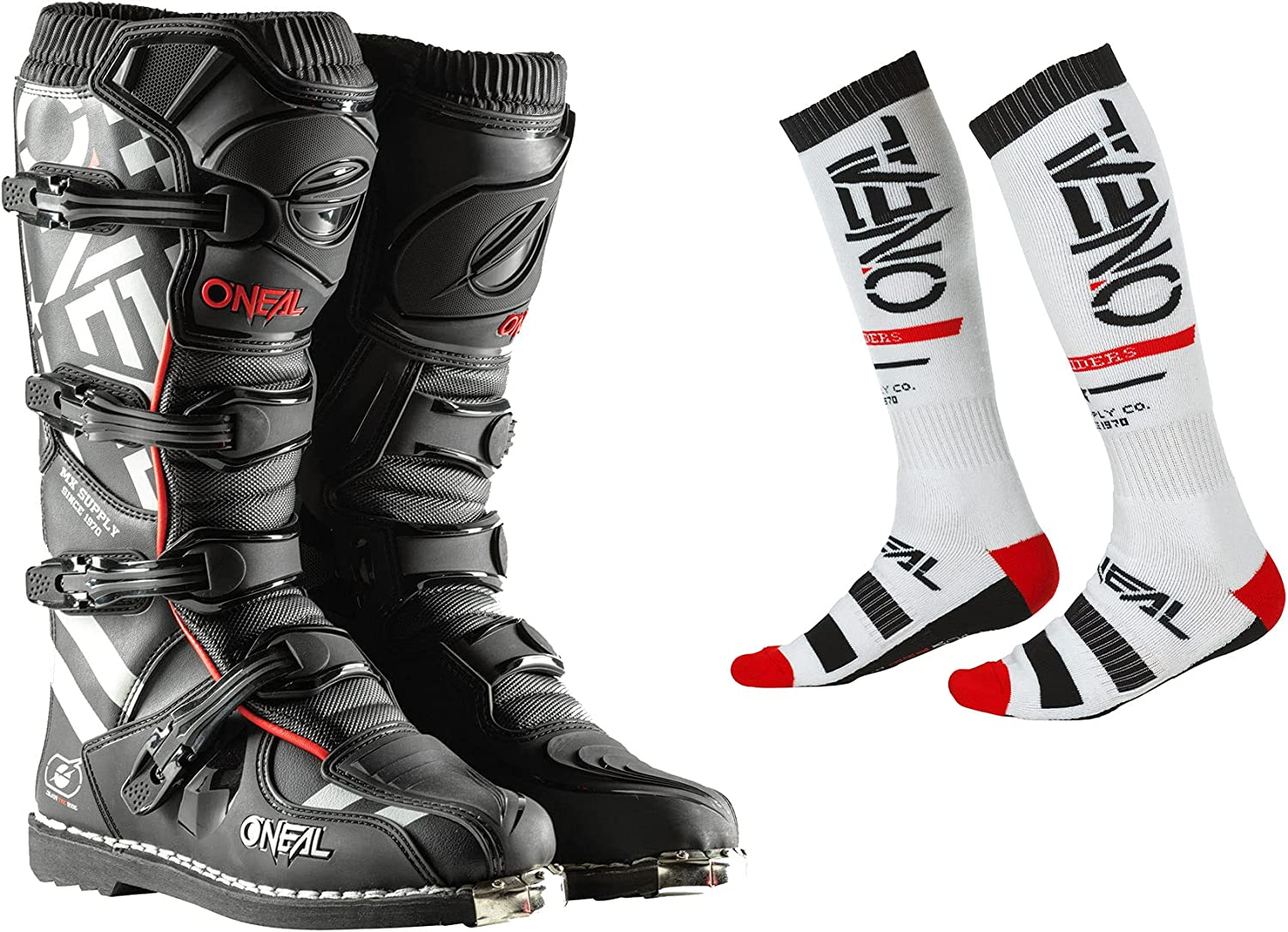 Oneal 2022 Elegant Element Squadron Max 68% OFF Offroad with Whit Boots Socks Combo