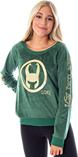 Marvel Comics Women's Loki Helmet Golden Glitter Foil Print Fleece Long Sleeve Pajama Sleep Shirt Top