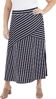 NY Collection Plus Size Diagonal Seam Elastic Waist Skirt