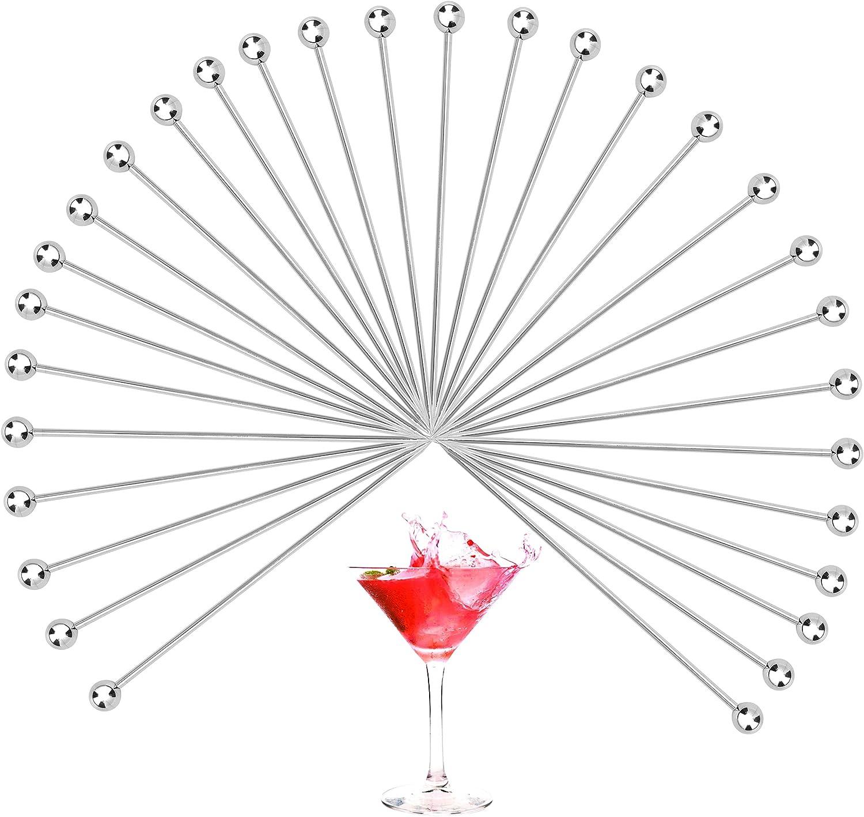 WUWEOT 30pcs Palillos de Cóctel de Acero Inoxidable Brochetas de Frutas Varillas de Cóctel Pinchos para Bebidas Pinchos de Frutas Palitos Decorativos Pinchos de Comida para Bares Fiestas Barbacoas