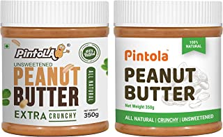 Pintola All Natural Peanut Butter (Extra Crunchy) (Unsweetened) (350g) + Pintola All Natural Peanut Butter (Crunchy) (350g...