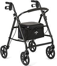 Medline Aluminum Rollator Walker with Seat, Folding Mobility Rolling Walker has 8 inch Wheels, Black