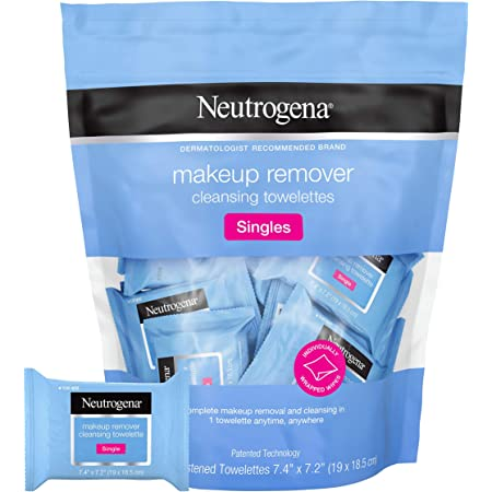 Neutrogena Facial Cleansing Towelette Singles, Daily Face Wipes to Remove Dirt, Oil, Makeup & Waterproof Mascara, Gentle, Alcohol-Free, Individually Wrapped, 20 Count