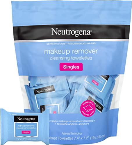 Neutrogena Makeup Remover Facial Cleansing Towelette Singles, Daily Face Wipes to Remove Dirt, Oil, Makeup & Waterpro...