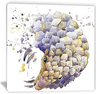 Designart Armadillo Illustration Art-Animal Canvas Artwork-30x30, 30x30, Blue