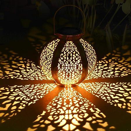 Lanterne solaire extérieure, Tencoz lanterne solaire Lanternes suspendues Lampes solaires Lanterne de jardin Patio Décor Métal Yard Art Jardin Accessoires Décorations extérieures pour porche