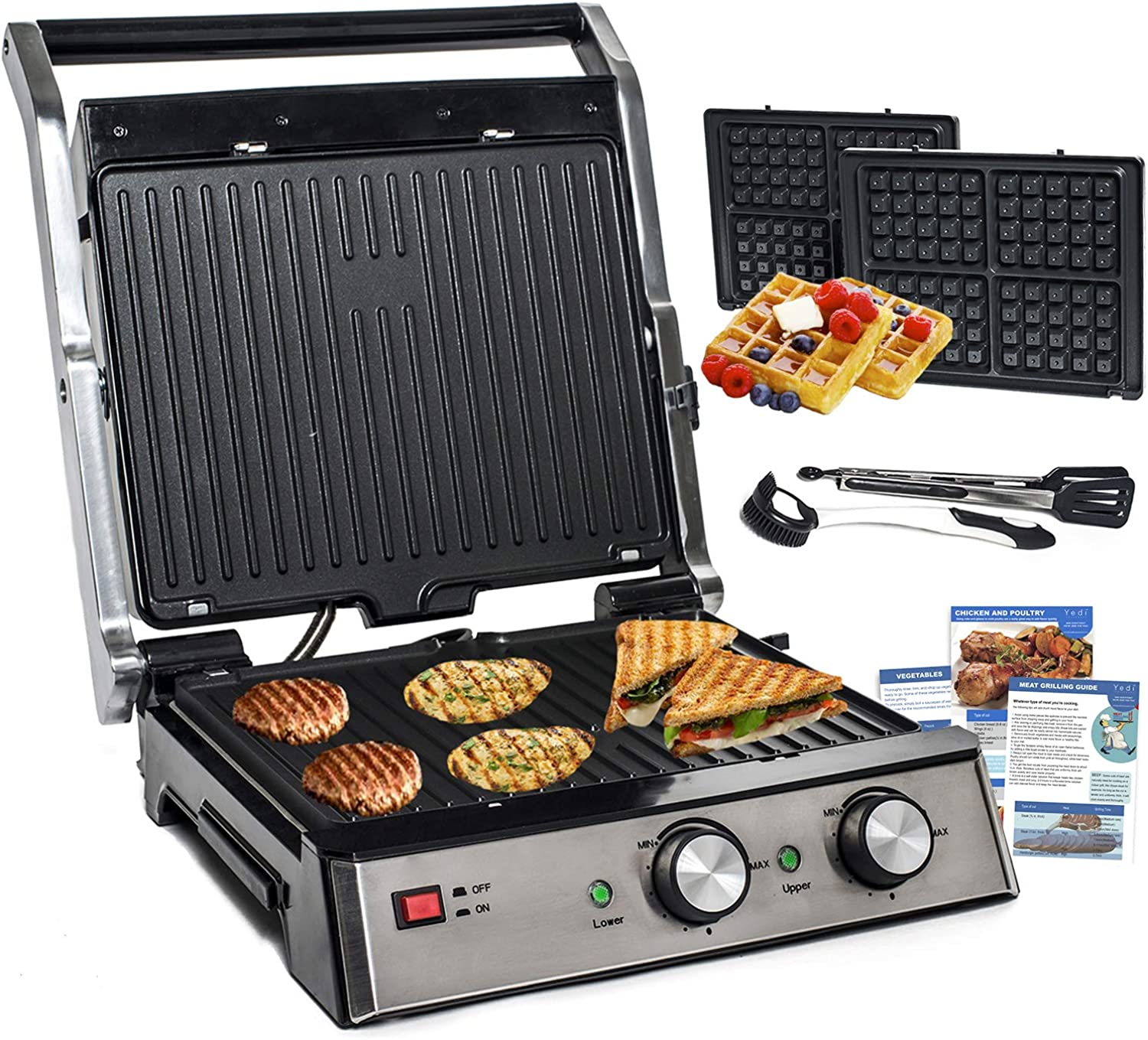Yedi Total Package 6-in-1 Grill, Waffle Maker, Griddle, Panini Press with Deluxe Accessory