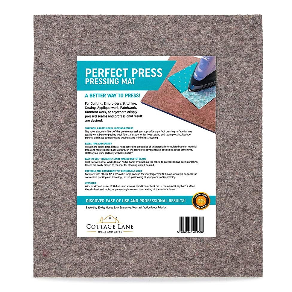 Large Wool Pressing Mat - 16 x 14 Inches - 100% Real Wooly Felted Mats - Thick Quilters Ironing Pad - Quilting Iron Press Board - Felt Quilt Supplies - Portable Tabletop Sewing Tools