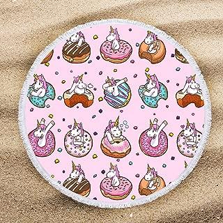 ARIGHTEX Girls Pink Round Beach Towel Cartoon Beach Shawl Cute Unicorn Yummy Donut Pattern Circle Yoga Mat for Kids 60