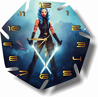 Star Wars - Ahsoka Tano 11.8'' Handmade Wall Clock - Get Unique décor for Home or Office – Best Gift Ideas for Kids, Friends, Parents and Your Soul Mates