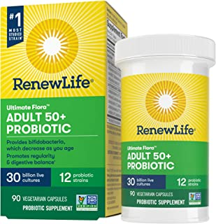 Renew Life Adult Probiotic - Ultimate Flora Adult 50+ Probiotic Supplement - Shelf Stable, Gluten, Dairy & Soy Free - 30 B...