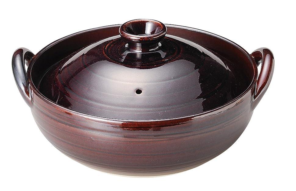 知り合い条約構造的萬古焼 炊きじょうず 土鍋 8号 飴釉 15778