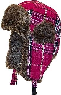 Best Winter Hats Adult Plaid Russian/Trooper W/Soft Faux Fur Cap (One Size)