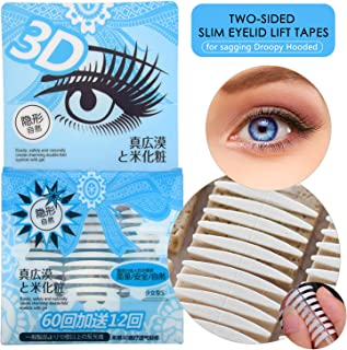 3D Japanese Imported Eye Lids Lift Strips Instantly, Ultra Invisible Double Eyelid Tapes for Heavy Saggy Droopy Hooded Single Uneven Eyelids, Charming Rounder Eyes, Medical Self-adhesive Fiber